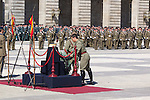 01.10.2012. The Spanish Royal Family, King Juan Carlos, Queen Sofia, Prince Felipe, Princess Letizia and Princess Elena attend the imposition of collective Distinguished Cross San Fernando Al Banner Armored Cavalry Regiment ´Alcántara´ No. 10 in the Royal Palace in Madrid, Spain. In the image Spanish soldiers in the Royal Palace of Madrid .(Alterphotos/Marta Gonzalez)