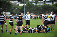 Referee Ben O'Keefe sets a scrum during the Swindale Shield Wellington premier club rugby match between Oriental-Rongotai and Old Boys-University at Polo Ground in Wellington, New Zealand on Saturday, 29 April 2017. Photo: Dave Lintott / lintottphoto.co.nz