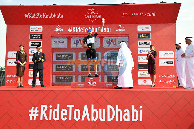 Nikolay Trusov (RUS) Gazprom-Rusvelo retains the intermediate sprints Black Jersey at the end of Stage 2 of the 2018 Abu Dhabi Tour, Yas Island Stage running 154km from Yas Mall to Yas Beach, Abu Dhabi, United Arab Emirates. 22nd February 2018.<br /> Picture: LaPresse/Massimo Paolone   Cyclefile<br /> <br /> <br /> All photos usage must carry mandatory copyright credit (© Cyclefile   LaPresse/Massimo Paolone)
