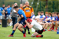 Saturday 4th September 20218 <br /> <br /> Tom Hodgkinson is tackled by James McKillop during U18 Clubs inter-pro between Ulster Rugby and Leinster at Newforge Country Club, Belfast, Northern Ireland. Photo by John Dickson/Dicksondigital
