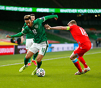 27th March 2021; Aviva Stadium, Dublin, Leinster, Ireland; 2022 World Cup Qualifier, Ireland versus Luxembourg; Callum Robinson (Republic of Ireland) tries to get past Laurent Jans (Luxembourg)