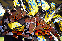 Kids form a welcoming tunnel for the teams during the Super Rugby Aotearoa match between the Hurricanes and Crusaders at Sky Stadium in Wellington, New Zealand on Sunday, 11 April 2020. Photo: Dave Lintott / lintottphoto.co.nz