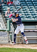 6 June 2021: New Hampshire Fisher Cats infielder Kevin Vicuña in action against the Binghamton Rumble Ponies at Northeast Delta Dental Stadium in Manchester, NH. The Rumble Ponies defeated the Fisher Cats 9-6 to close out their 6-game series. Mandatory Credit: Ed Wolfstein Photo *** RAW (NEF) Image File Available ***