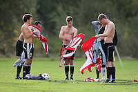 Players of Shoreditch Fire Penguins FC change their shirts prior to a Hackney & Leyton Sunday League match at Hackney Marshes - 25/10/09 - MANDATORY CREDIT: Gavin Ellis/TGSPHOTO - Self billing applies where appropriate - Tel: 0845 094 6026