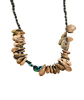 Neolithic necklace, 7000 BC to 6500 BC . Catalhoyuk collection, Konya Archaeological Museum, Turkey. Against a white background