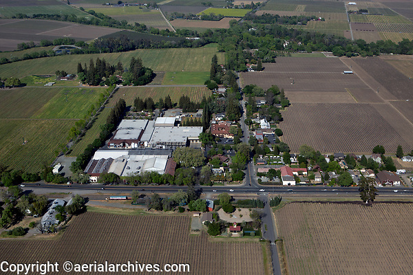 aerial photograph of Rutherford,  Napa County, California, Beaulie Vineyard at the right