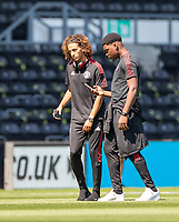 18th July 2021; Pride Park, Derby, East Midlands; Pre Season Friendly Football, Derby County versus Manchester United;  Hannibal of Manchester United (L)  Teden Mengi of Manchester United (R) inspect the playing surface