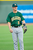 Levi Hyams (5) of the Lynchburg Hillcats warms up in the outfield prior to the game against the Winston-Salem Dash at BB&T Ballpark on August 5, 2013 in Winston-Salem, North Carolina.  The Dash defeated the Hillcats 5-0.  (Brian Westerholt/Four Seam Images)