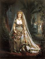"""L'Italienne Virginia Oldoini (1837-1899), comtesse de Castiglione, elle fut l'espionne et la maitresse de NapoleonIII, ici portant le costume de """"Dame de coeur"""" pour un bal donne au palais des Tuileries en 1857, gouache par Aquilin Schad d'apres une photo de Pierre Louis Pierson --- Italian Virginia Oldoini (1837-1899), countess of Castiglione , she was the spy and mistress of french emperor NapoleonIII, here dressed up as """"Lady of heart"""" for a ball in Tuileries palace, 1857, gouache by Aquilin Schad after a photo by Pierre-Louis Pierson"""