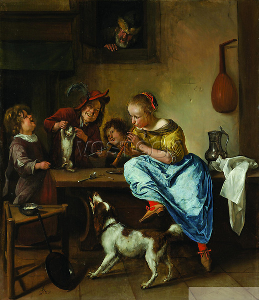 Children Teaching a Cat to Dance Known as 'The Dancing Lesson' - by Jan Havicksz Steen 1660 - 1679