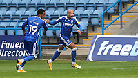 Jordan Graham celebrates scoring Gillingham's third goal with Vadaine Oliver during Gillingham vs Oxford United, Sky Bet EFL League 1 Football at the MEMS Priestfield Stadium on 10th October 2020