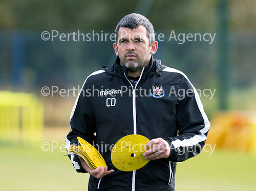 St Johnstone Training….01.10.20     <br />St Johnstone Manager Callum Davidson pictured during training at McDiarmid Park ahead of Sundays game against Celtic.<br />Picture by Graeme Hart.<br />Copyright Perthshire Picture Agency<br />Tel: 01738 623350  Mobile: 07990 594431
