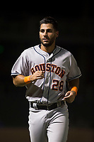 Scottsdale Scorpions third baseman Abraham Toro (28), of the Houston Astros organization, jogs off the field during an Arizona Fall League game against the Salt River Rafters at Salt River Fields at Talking Stick on October 11, 2018 in Scottsdale, Arizona. Salt River defeated Scottsdale 7-6. (Zachary Lucy/Four Seam Images)