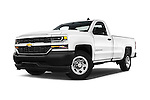 Stock pictures of low aggressive front three quarter view of 2018 Chevrolet Silverado 1500 1WT Regular Cab Long Box 3 Door Pick-up Low Aggressive