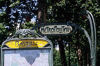 Map outside the entrance to Bastille Station, part of the Paris Métro, Paris, France.