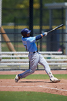Tampa Bay Rays Raider Brito (77) during a Minor League Extended Spring Training game against the Atlanta Braves on April 15, 2019 at CoolToday Park Training Complex in North Port, Florida.  (Mike Janes/Four Seam Images)
