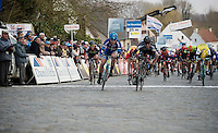 Timothy Dupont (BEL/Verandas Willems) beats Kristoffer Halvorsen (NOR/Joker) to the line<br /> <br /> 71st Nokere Koerse