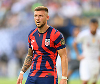 AUSTIN, TX - JULY 29: Paul Arriola #7 of the United States waits for a corner kick during a game between Qatar and USMNT at Q2 Stadium on July 29, 2021 in Austin, Texas.