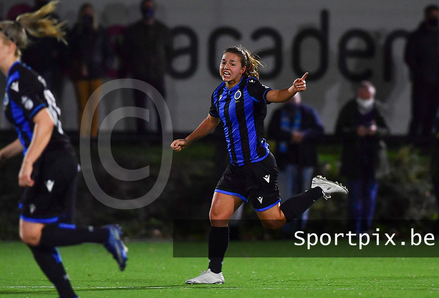 Brugge's Jody Vangheluwe pictured during a female soccer game between Sporting Charleroi and Club Brugge YLA on the fourth matchday of the 2020 - 2021 season of Belgian Scooore Womens Super League , friday 9 nd of October 2020  in Marcinelle , Belgium . PHOTO SPORTPIX.BE | SPP | DAVID CATRY