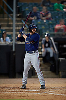 Mississippi Braves Connor Johnstone (24) at bat during a Southern League game against the Jackson Generals on July 23, 2019 at The Ballpark at Jackson in Jackson, Tennessee.  Mississippi defeated Jackson 1-0 in the second game of a doubleheader.  (Mike Janes/Four Seam Images)