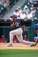Scranton/Wilkes-Barre RailRiders left fielder Cesar Puello (21) at bat during a game against the Buffalo Bisons on July 2, 2016 at Coca-Cola Field in Buffalo, New York.  Scranton defeated Buffalo 5-1.  (Mike Janes/Four Seam Images)
