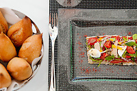 'Le pan bagnat aux légumes du soleil, ventrèche de thon blanc confit' [pan-bagnat with Mediterranean vegetables and confit tuna belly], served at Odyssey in the Hotel Metropole, Monte Carlo, Monaco, 22 May 2013. Odyssey, opened in spring 2013, is an exclusively alfresco dining experience and chef Joël Robuchon's third restaurant within the hotel.