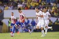 Pasadena, CA - Tuesday June 07, 2016: Paraguay forward Miguel Almirón (17) during a Copa America Centenario Group A match between Colombia (COL) and Paraguay (PAR) at Rose Bowl Stadium.