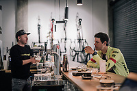 post-ride coffee for Jasper Stuyven (BEL/Trek-Segafredo) after a solo ride at the Trek-Segafredo Mallorca training camp <br /> <br /> January 2018