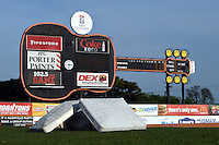 Bases in the grass with the guitar shaped score board in the background before a Nashville Sounds game against the Omaha Storm Chasers on May 19, 2014 at Herschel Greer Stadium in Nashville, Tennessee.  Nashville defeated Omaha 5-4.  (Mike Janes/Four Seam Images)