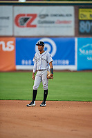 Cristopher Navarro (3) second baseman of the Grand Junction Rockies during the game against the Ogden Raptors at Lindquist Field on September 9, 2019 in Ogden, Utah. The Raptors defeated the Rockies 6-5. (Stephen Smith/Four Seam Images)