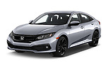 2020 Honda Civic-Sedan Sport 4 Door Sedan Angular Front automotive stock photos of front three quarter view