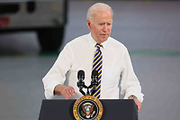 United States President Joe Biden delivers remarks on the importance of American manufacturing, buying products made in America, and supporting good-paying jobs for American worker at the Mack Lehigh Valley Operations in Lower Macungie Township, Pennsylvania on Wednesday, July 28, 2021.<br /> <br /> Credit: Saquan Stimpson / CNP / MediaPunch