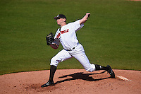 Louisville Cardinals pitcher Robert Strader (25) delivers a pitch during a game against the Cal State Fullerton Titans on February 15, 2015 at Bright House Field in Clearwater, Florida.  Cal State Fullerton defeated Louisville 8-6.  (Mike Janes/Four Seam Images)