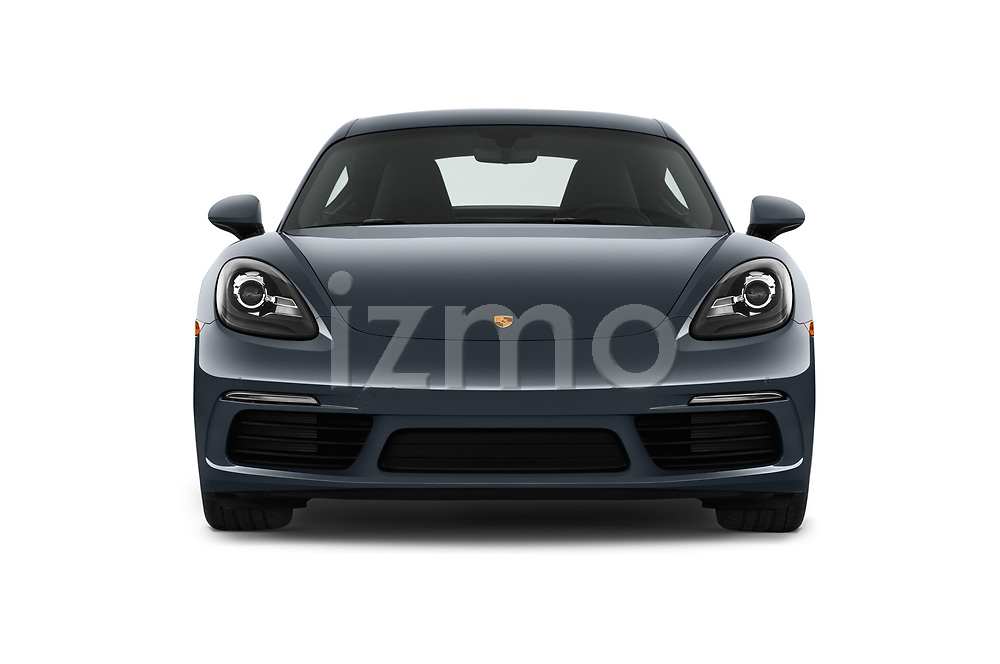 Car photography straight front view of a 2017 Porsche 718 Cayman 3 Door Coupe Front View