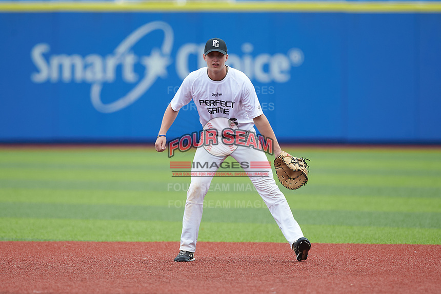 First baseman Noah Sorrells (6) of T C Roberson High School in Arden, NC on defense during the Atlantic Coast Prospect Showcase hosted by Perfect Game at Truist Point on August 22, 2020 in High Point, NC. (Brian Westerholt/Four Seam Images)