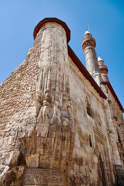 The Gökmedrese or Gök Medrese built in 1271 by Vizier Ata Faahreddin Ali. close up of the corner seljuk stone work. Sivas, Turkey