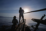 Lamelera 's whalers hunting the whale shark (the biggest fish in the ocean).  Lembata island. West of  Nusa Tengarra islands. Indonesia.