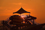 Sunset behind the Splash Montana waterpark features in Missoula, Montana