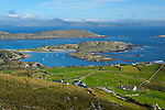 Ireland, County Kerry, Iveragh Peninsula, Ring of Kerry, View over Derrynane Bay to distant Beara Peninsula | Irland, County Kerry, Iveragh Halbinsel, Ring of Kerry, Blick ueber Derrynane Bay zur Beara Halbinsel