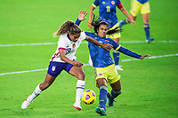ORLANDO, FL - JANUARY 18: Catarina Macario #29 of the USWNT battles for the ball during a game between Colombia and USWNT at Exploria Stadium on January 18, 2021 in Orlando, Florida.