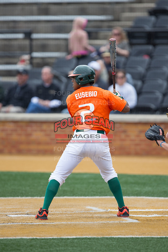Ricky Eusebio (2) of the Miami Hurricanes at bat against the Wake Forest Demon Deacons at Wake Forest Baseball Park on March 22, 2015 in Winston-Salem, North Carolina.  The Demon Deacons defeated the Hurricanes 10-4.  (Brian Westerholt/Four Seam Images)