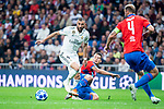 Real Madrid Karim Benzema and FC Viktoria Plzen Lukas Hejda during UEFA Champions League match between Real Madrid and FC Viktoria Plzen at Santiago Bernabeu Stadium in Madrid, Spain. October 23, 2018. (ALTERPHOTOS/Borja B.Hojas)