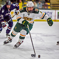 21 November 2017: University of Vermont Catamount forward Max Kaufman in first period action against the University of Connecticut Huskies at Gutterson Fieldhouse in Burlington, Vermont. The Huskies defeated the Catamounts 4-1 in Hockey East play. Mandatory Credit: Ed Wolfstein Photo *** RAW (NEF) Image File Available ***