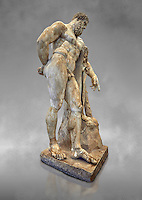 End of 2nd century beginning of 3rd century AD Roman marble sculpture of Hercules at rest copied from the second half of the 4th century BC Hellanistic Greek original,  inv 6001, Farnese Collection, Museum of Archaeology, Italy, grey art background