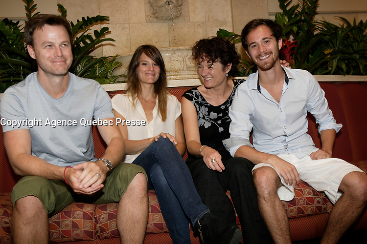 Montreal (QC) CANADA - July 23 2012  File photo-  Stephanie Lapointe, Manon Briand, Film marker and the 2 male actors in Quebec movie LIVERPOOL<br /> <br /> <br /> <br /> PHOTO :  Agence Quebec Presse
