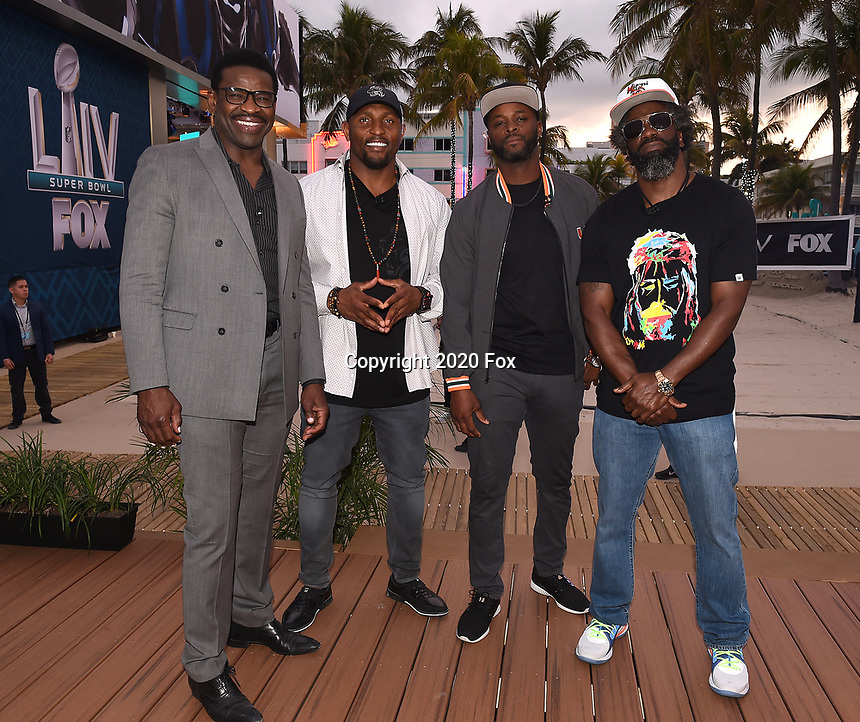 """MIAMI BEACH, FL - JANUARY 28:  (L-R) Michael Irvin, Ray Lewis, Reggie Wayne, and Ed Reed discuss Fox Sports """"The ReUnion"""" at the Fox Sports South Beach studio during Super Bowl LIV week on January 29, 2020 in Miami Beach, Florida. (Photo by Frank Micelotta/Fox Sports/PictureGroup)"""