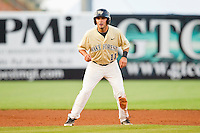 Pat Blair #11 of the Wake Forest Demon Deacons takes his lead off of second base against the Miami Hurricanes at NewBridge Bank Park on May 25, 2012 in Winston-Salem, North Carolina.  The Hurricanes defeated the Demon Deacons 6-3.  (Brian Westerholt/Four Seam Images)