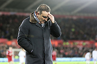 Swansea manager Carlos Carvalhal shows his frustration during the Premier League match between Swansea City and Liverpool at The Liberty Stadium, Swansea, Wales, UK. Monday 22 January 2018