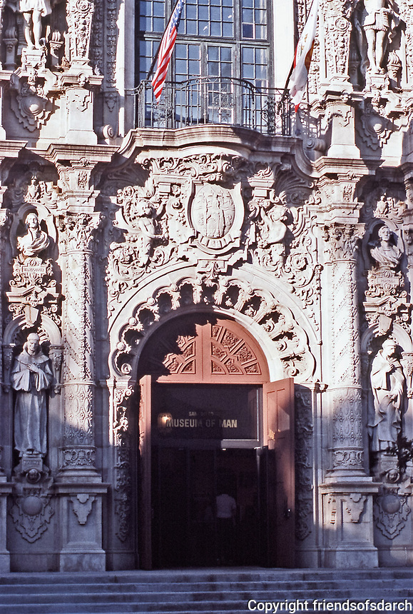 Balboa Park: Museum of Man. Churriqueresque style designed by Bertram Goodhue, 1915. Photo 1987.