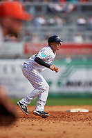 New York Yankees second baseman Ronald Torreyes (74) leads off second base during a Spring Training game against the Detroit Tigers on March 2, 2016 at George M. Steinbrenner Field in Tampa, Florida.  New York defeated Detroit 10-9.  (Mike Janes/Four Seam Images)